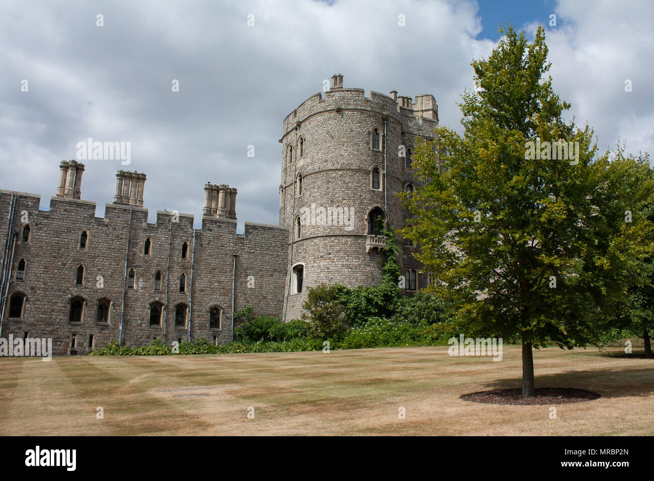 Outside walls by the Henry VIII gateway of Windsor castle, residence of the british royal family in England, UK. - Stock Image