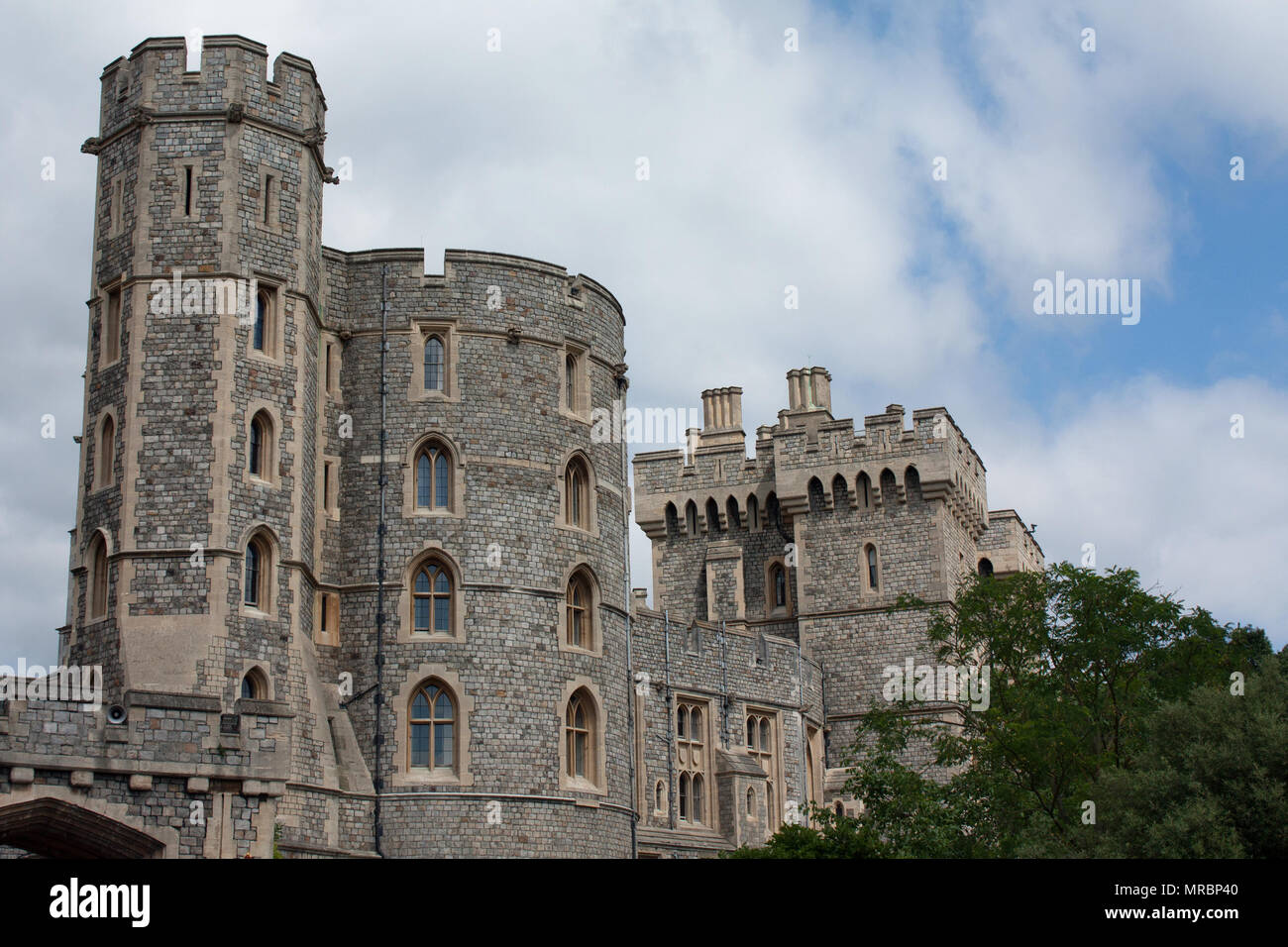 Outside towers of Windsor castle, residence of the british royal family in England, UK. - Stock Image