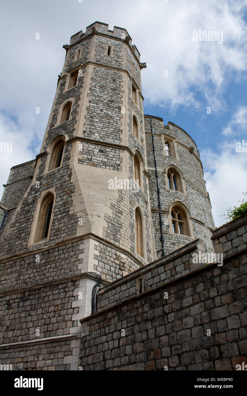 Vertical view of a tower in Windsor castle, residence of the british royal family in England, UK. - Stock Image