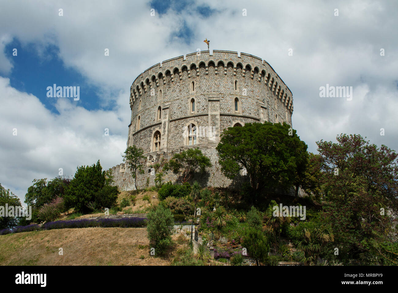Round tower in Windsor castle, residence of the british royal family in England, UK. - Stock Image