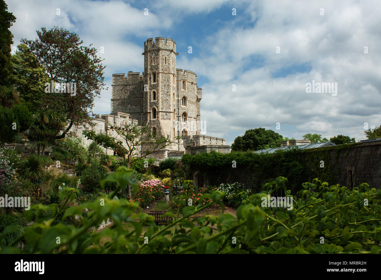 Windsor castle tower seen from the inner garden wall, England, UK - Stock Image