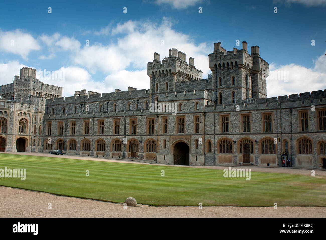 Courtyard of the upper ward in Windsor castle, residence of the british royal family in England, UK. - Stock Image