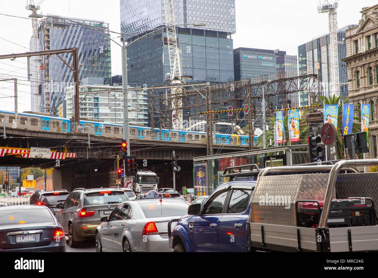 Traffic vehicle congestion in Melbourne city centre,Victoria,Australia - Stock Image