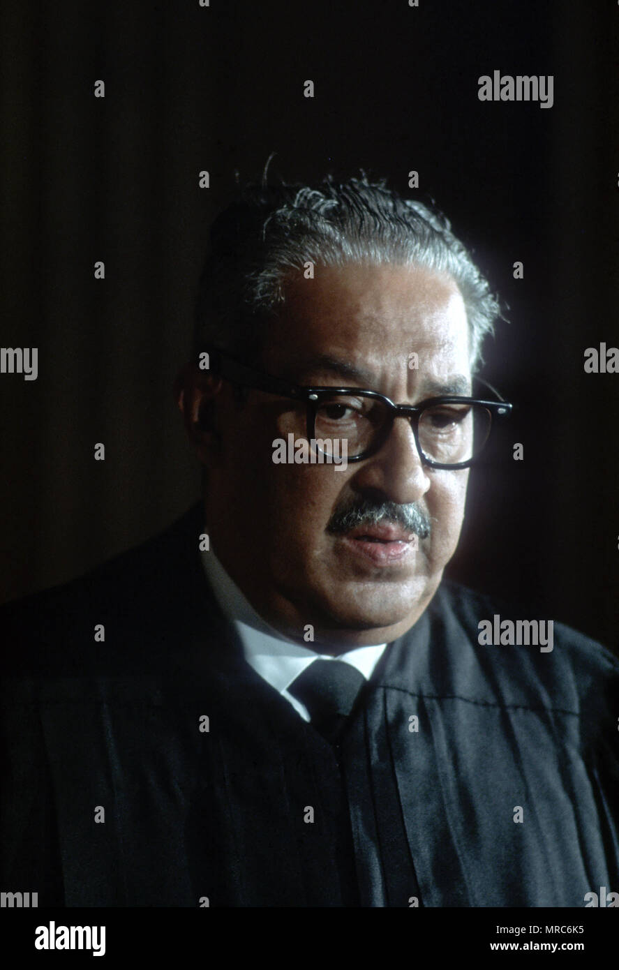 Washington, DC 1967/08/30 Supreme Court Justice Thurgood Marshall  at the official photograph of the Supreme Court in 1967.  Photo by Dennis Brack B  1 - Stock Image