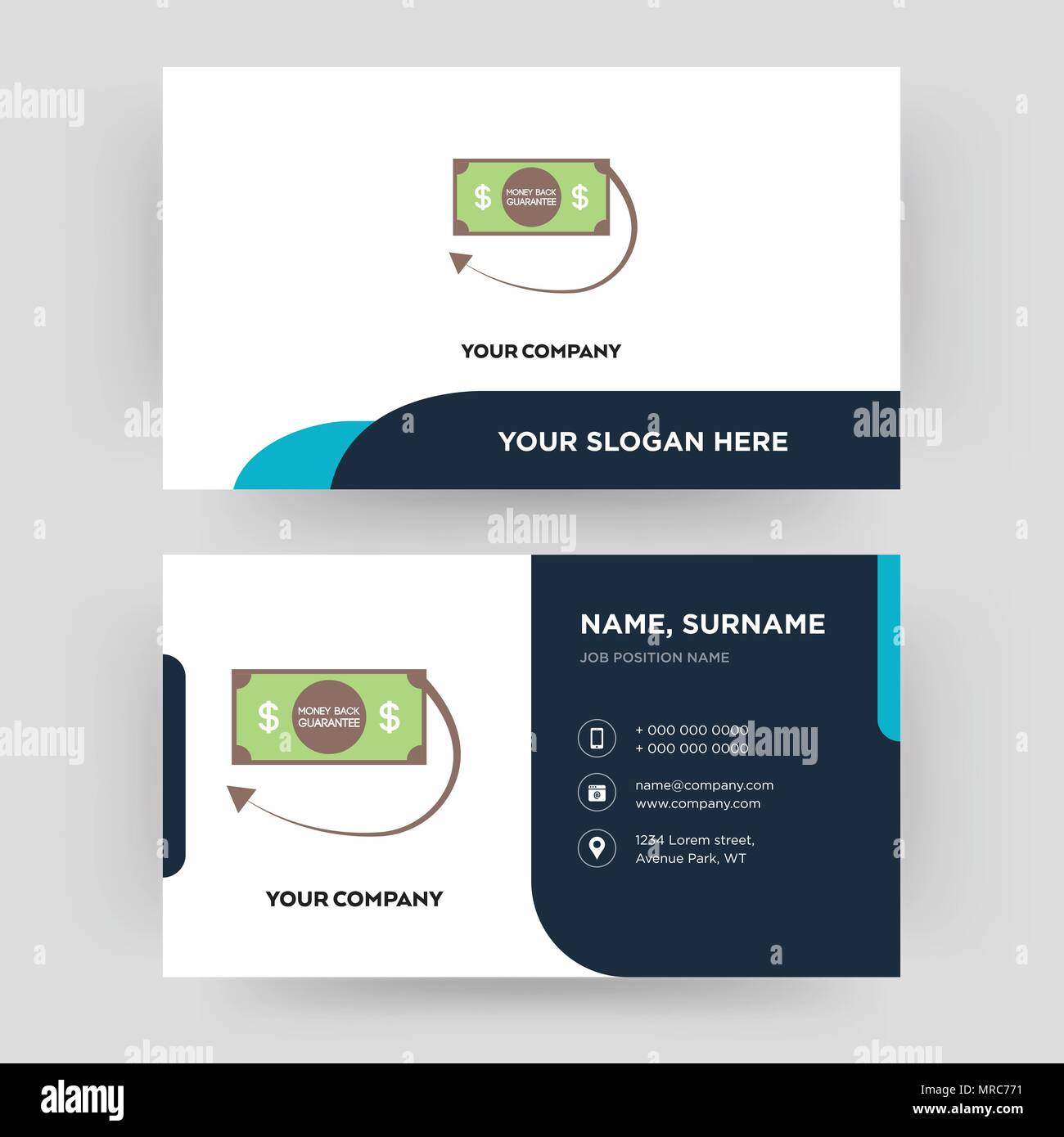 money back guarantee, business card design template, Visiting for ...