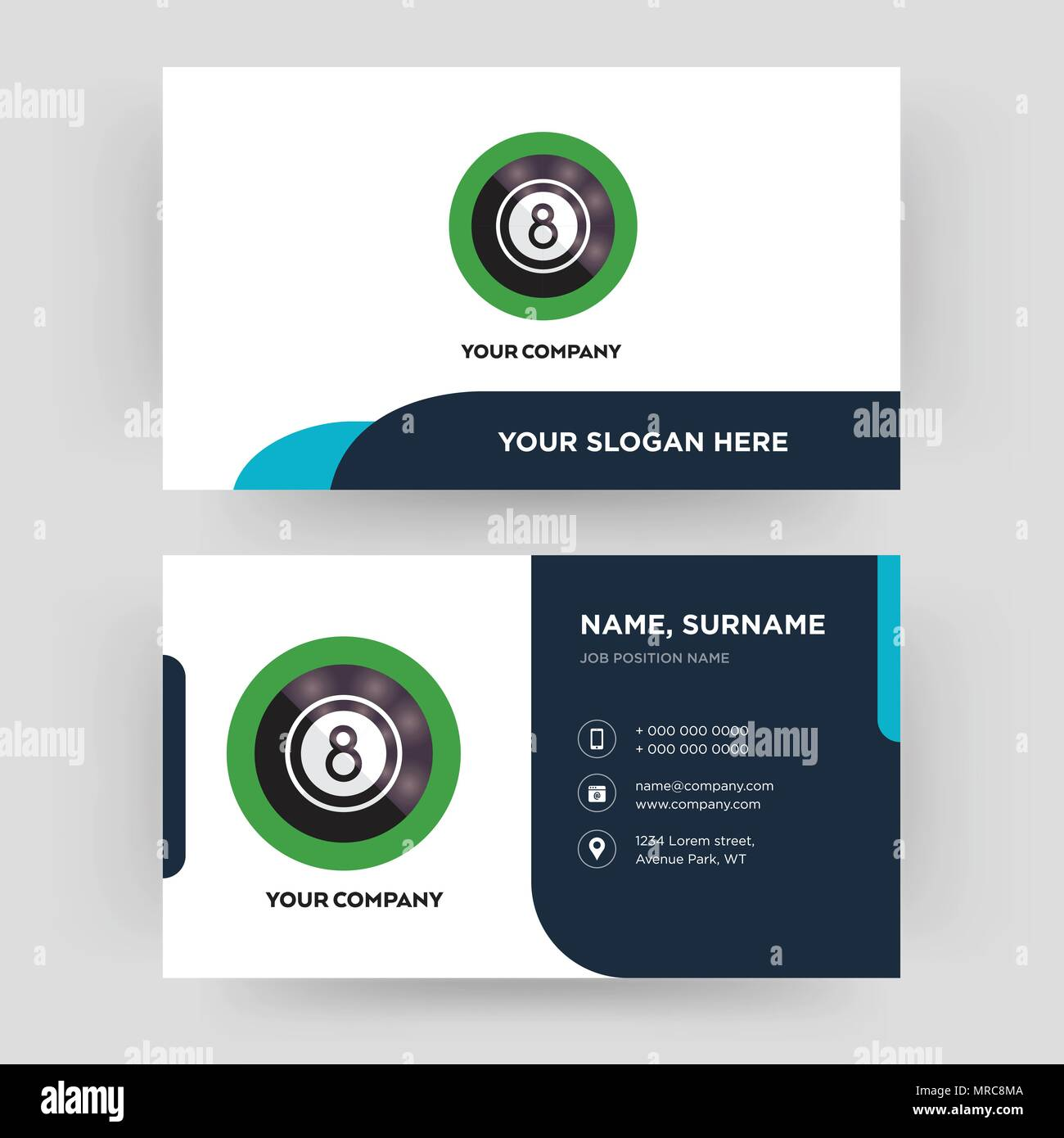 8 ball pool, business card design template, Visiting for your company, Modern Creative and Clean identity Card Vector - Stock Image