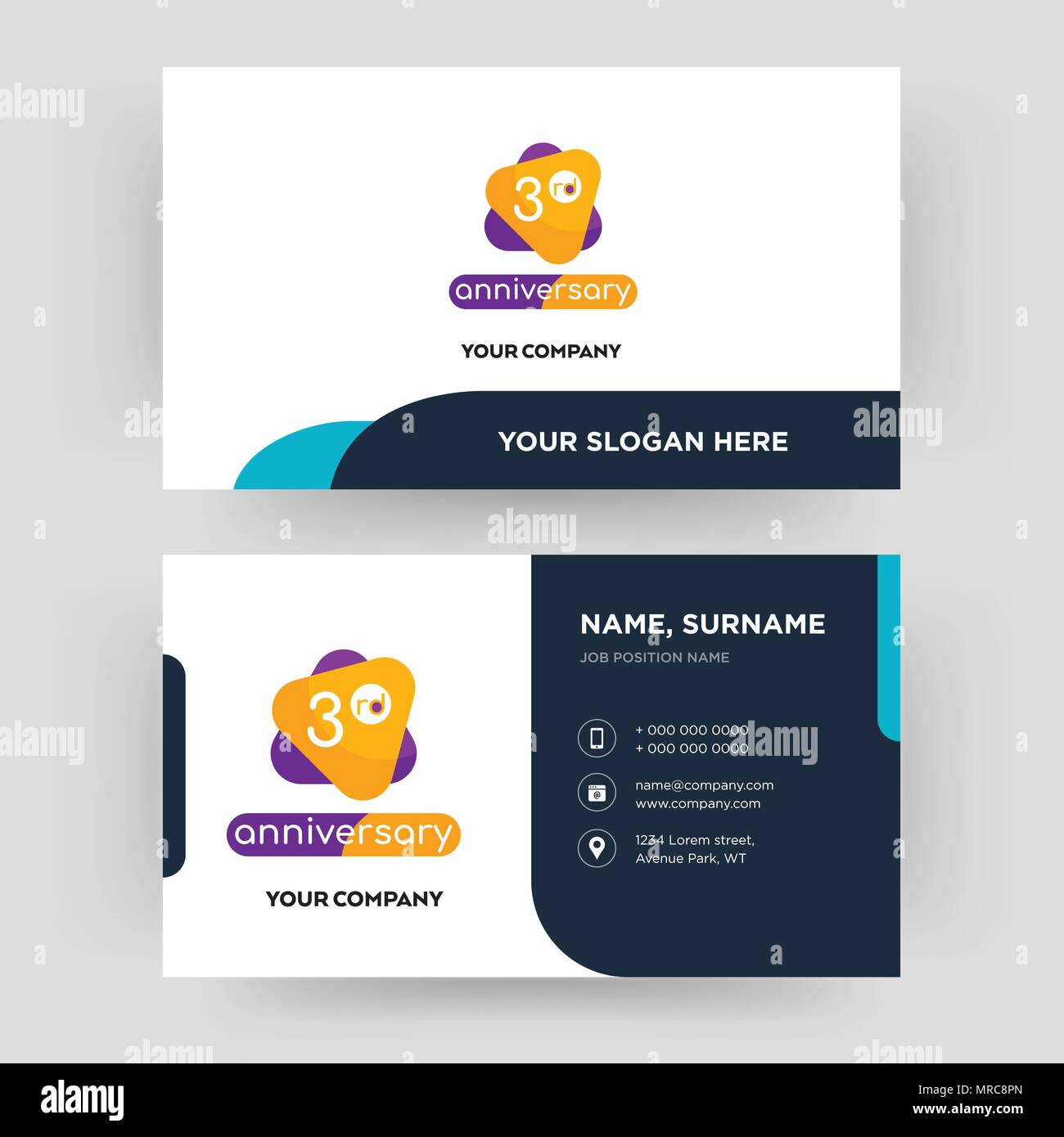 3rd Anniversary Business Card Design Template Visiting For