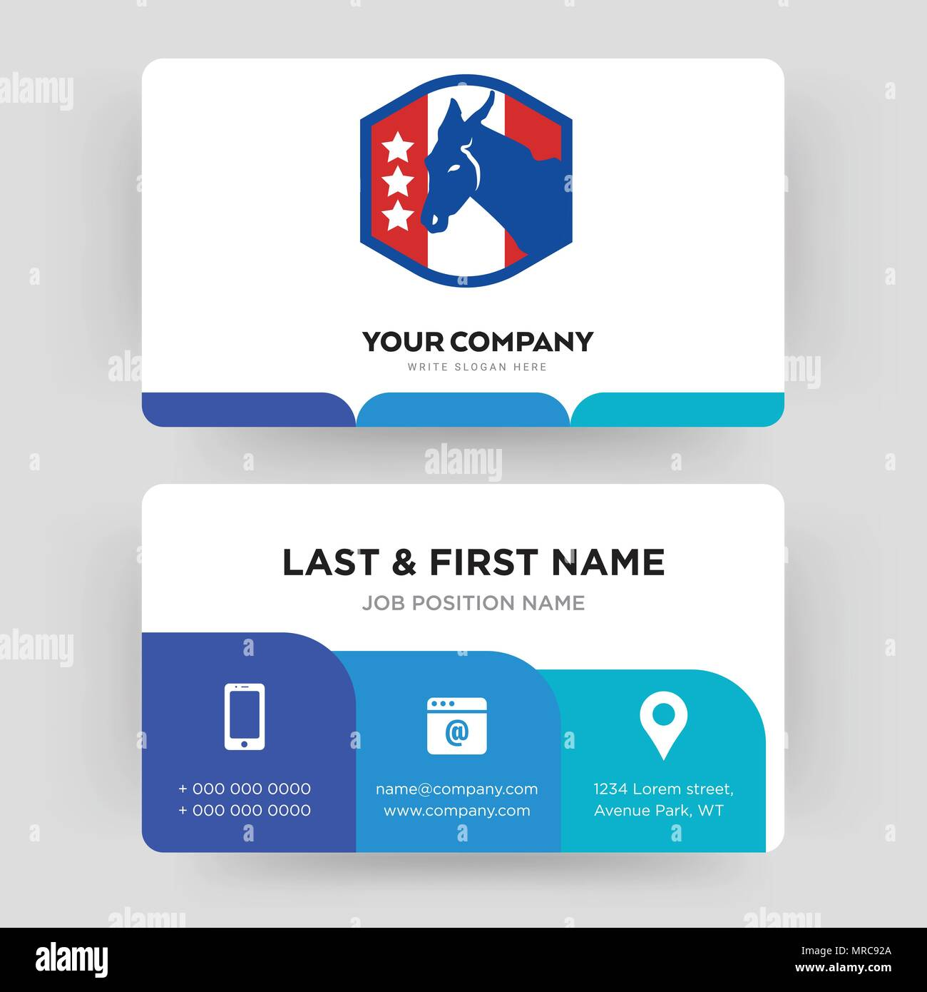 democratic party, business card design template, Visiting for your company, Modern Creative and Clean identity Card Vector - Stock Image