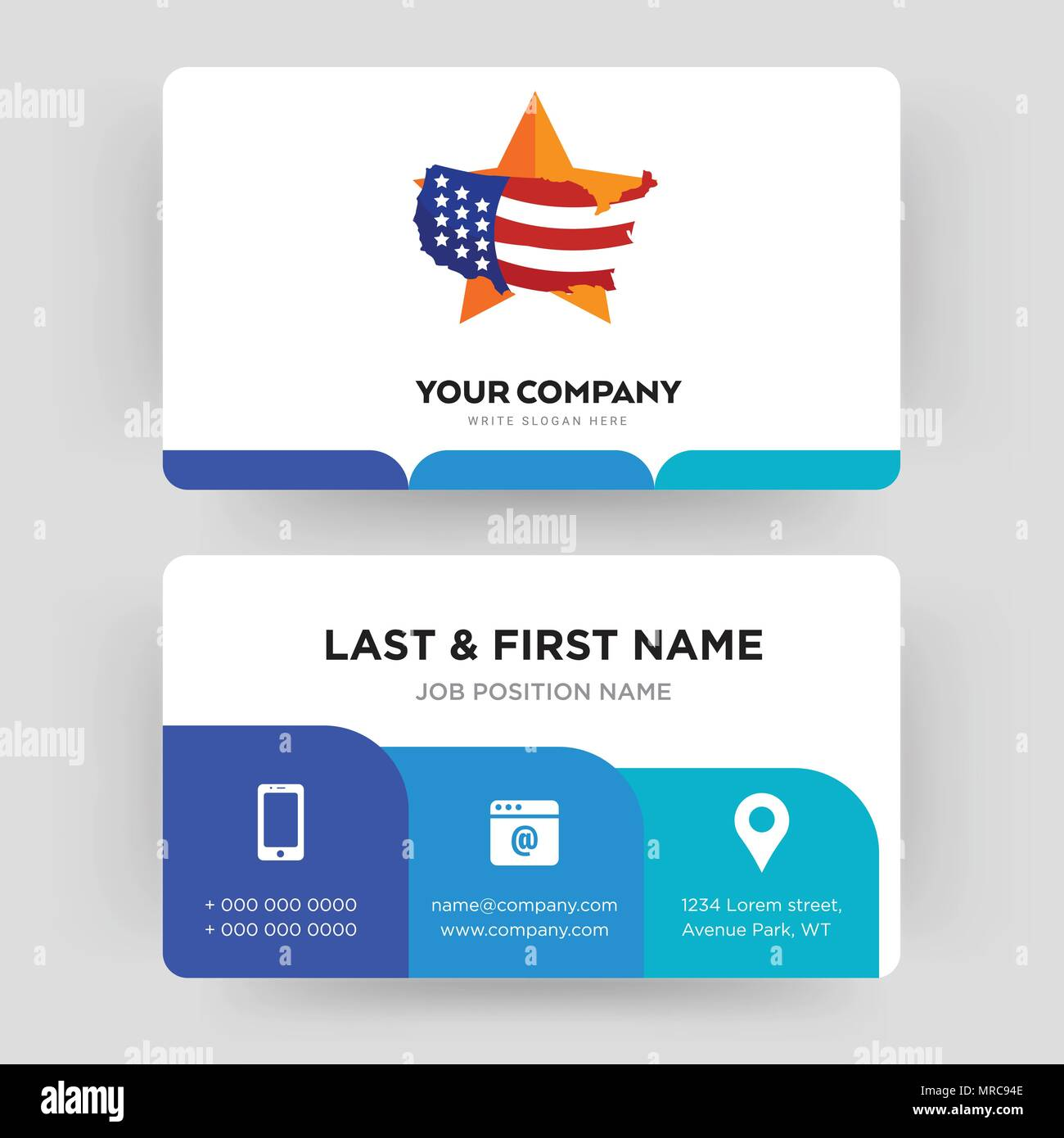 us map, business card design template, Visiting for your company ...