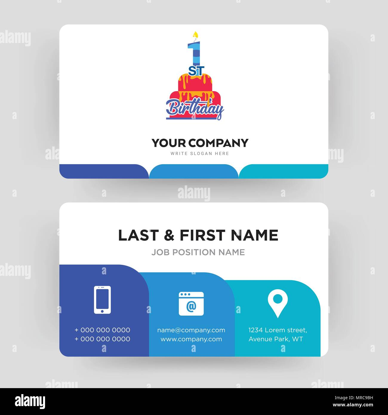 1st birthday, business card design template, Visiting for your ...