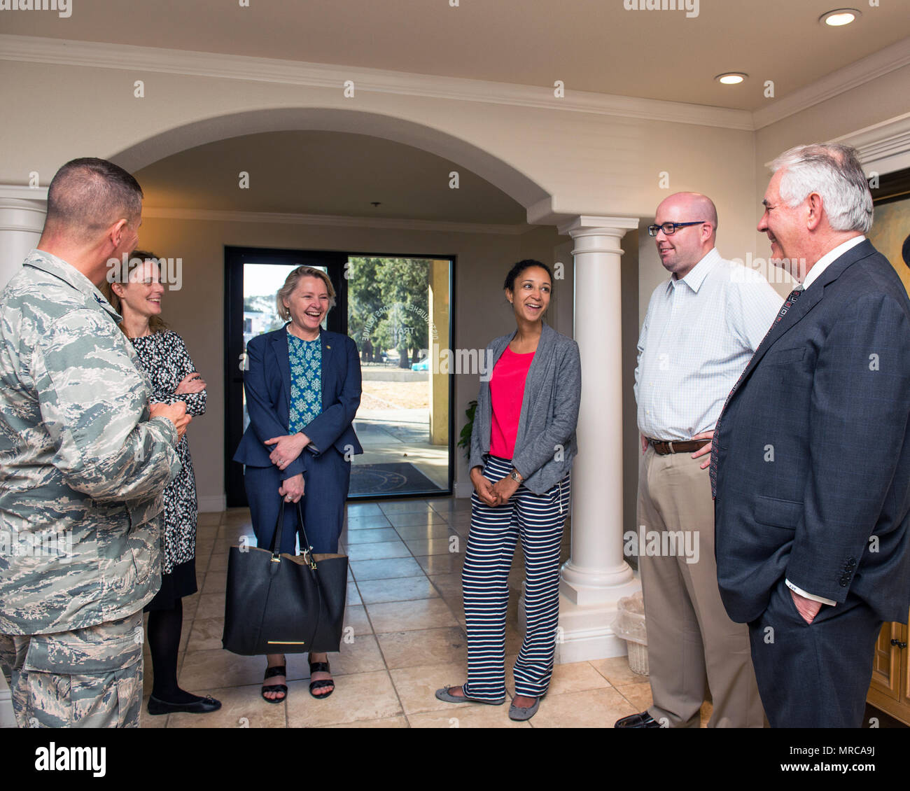 Secretary of State Rex Tillerson visits the distinguished visitors lounge at Travis Air Force Base, Calif., June 2, 2017. Tillerson stopped at Travis before heading to Sydney, Australia to attend the Australia-United States Ministerial Consultations forum. (U.S. Air Force photo by Louis Briscese) Stock Photo