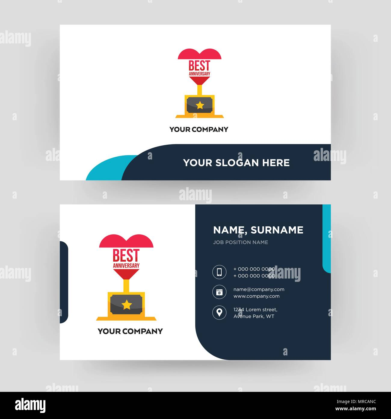 Best anniversary business card design template visiting for your best anniversary business card design template visiting for your company modern creative and clean identity card vector colourmoves
