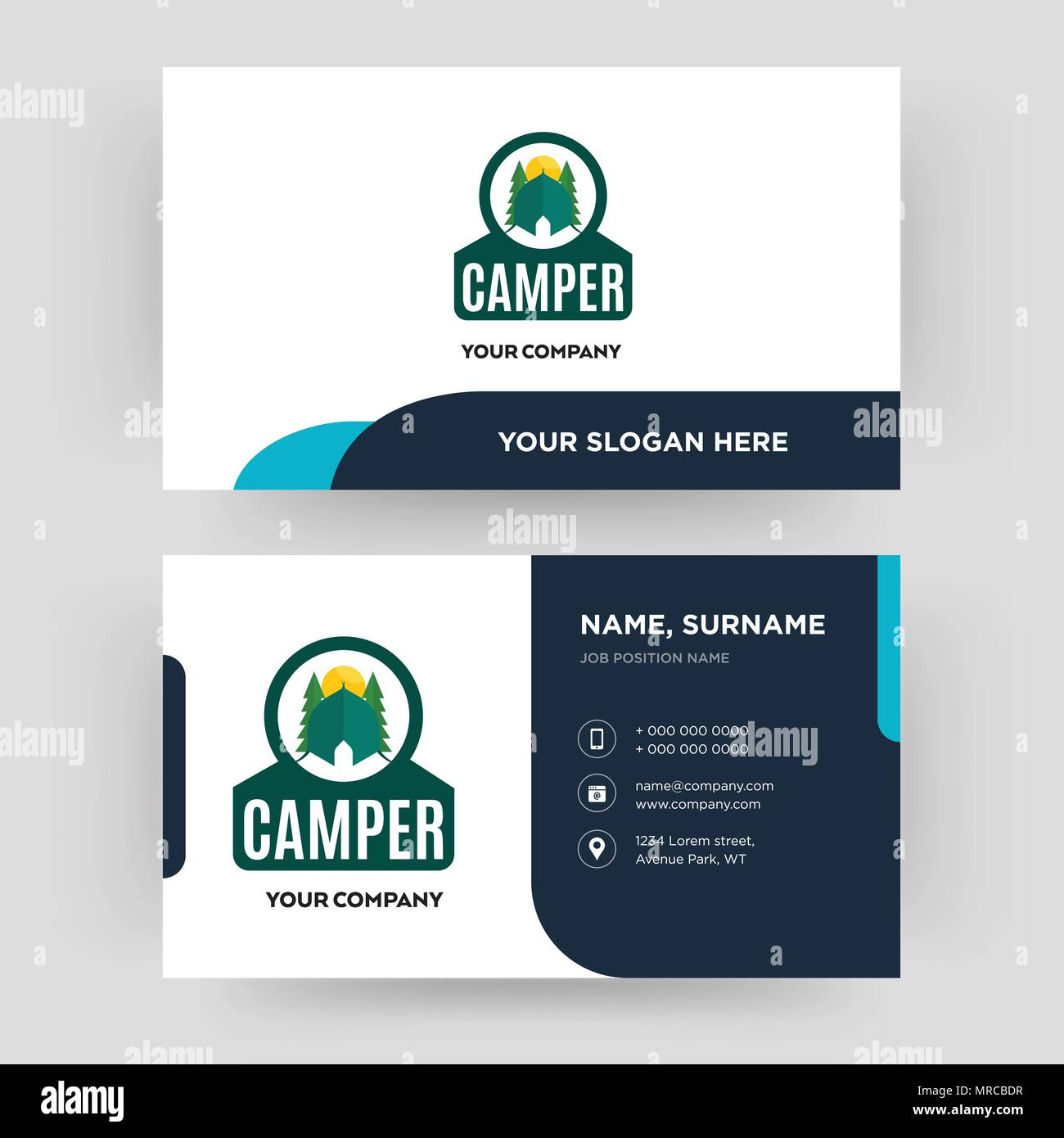 camper business card design template visiting for your company