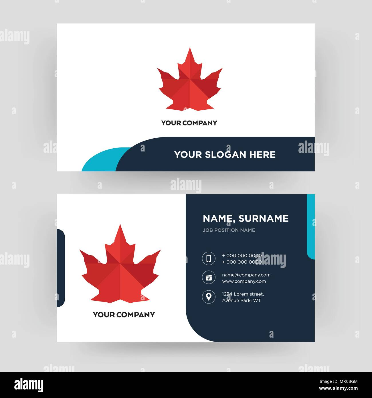 Canada leaf business card design template visiting for your canada leaf business card design template visiting for your company modern creative and clean identity card vector colourmoves