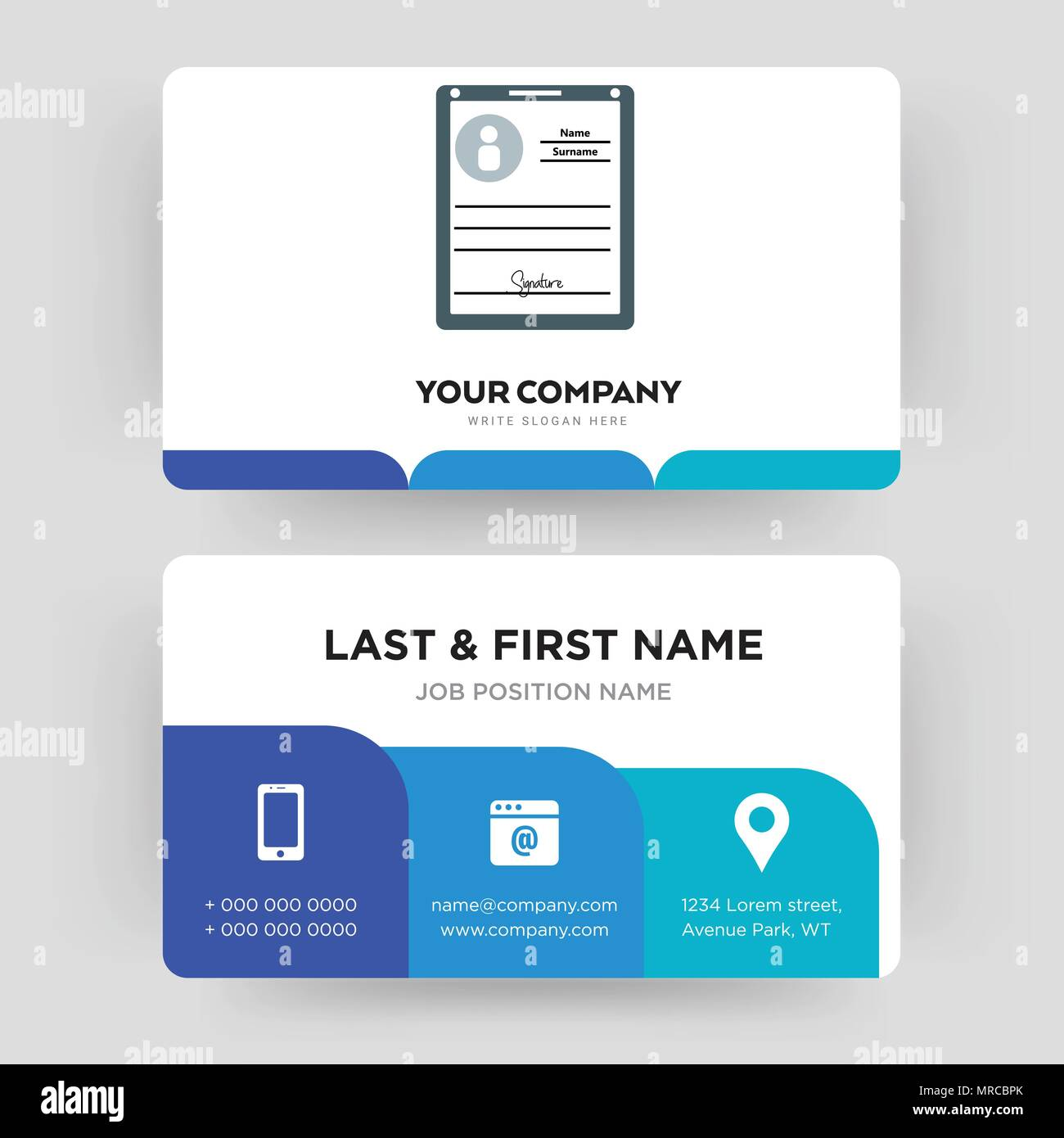 Personal Information Card Template from c8.alamy.com