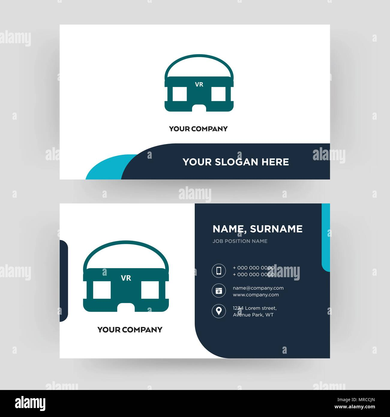 vr headset, business card design template, visiting for your company