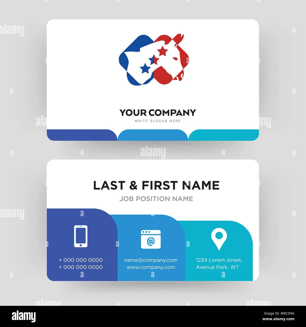 democrat, business card design template, Visiting for your company, Modern Creative and Clean identity Card Vector - Stock Image