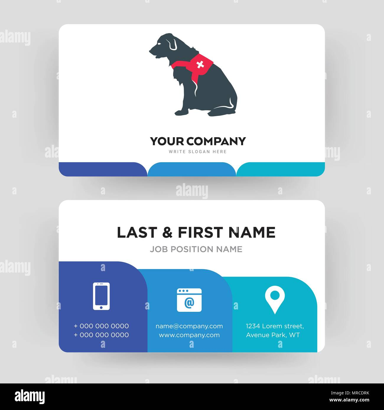 service dog, business card design template, Visiting for your company, Modern Creative and Clean identity Card Vector Stock Vector