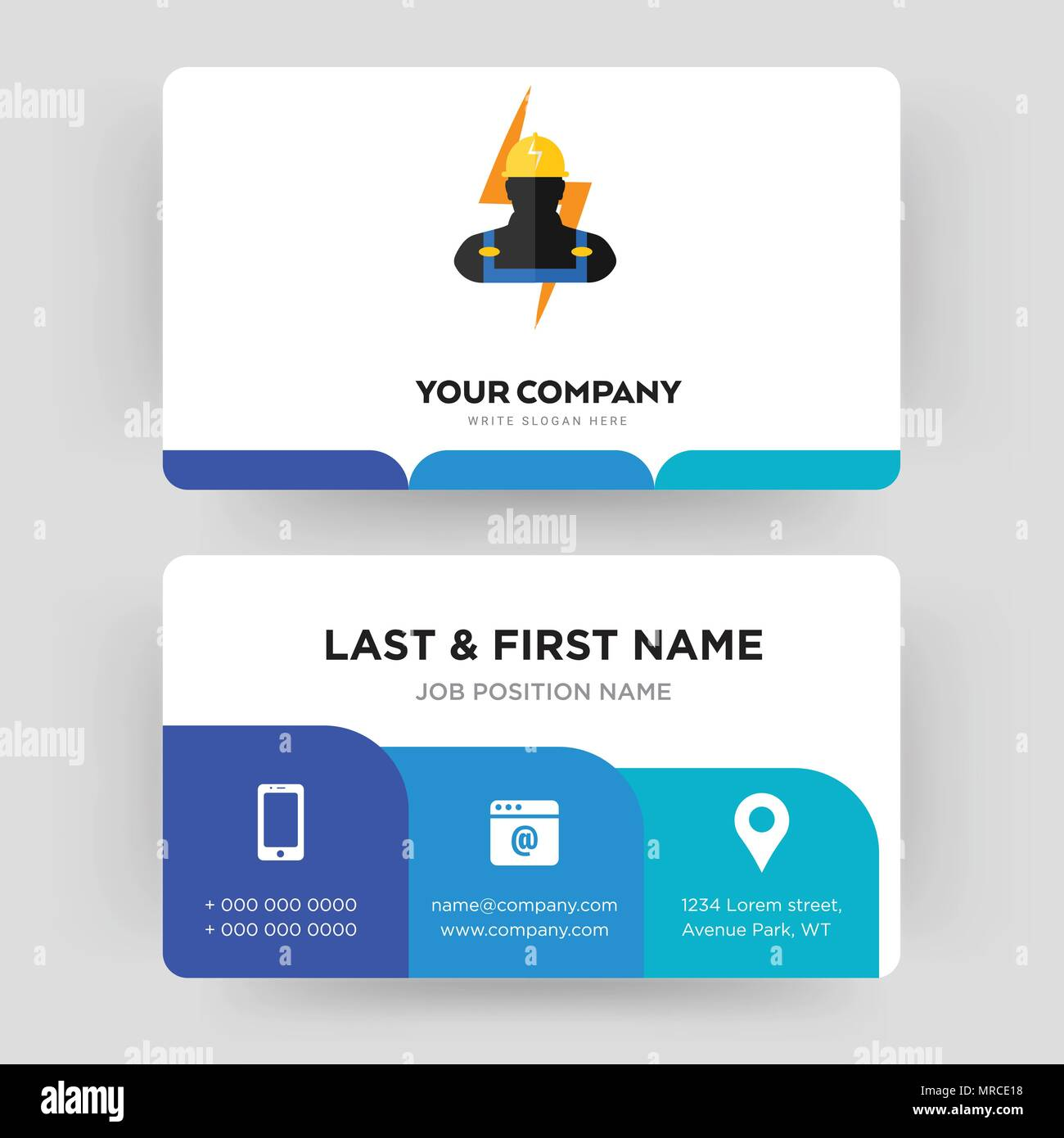 Electrician business card design template visiting for your electrician business card design template visiting for your company modern creative and clean identity card vector reheart Images