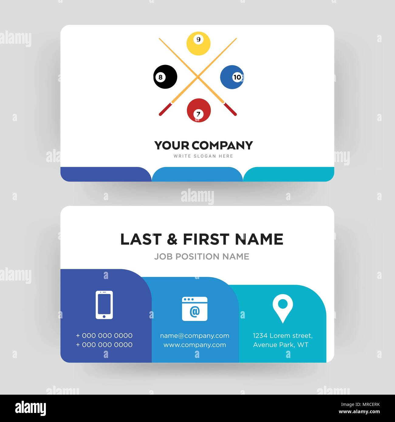 snooker, business card design template, Visiting for your company, Modern Creative and Clean identity Card Vector - Stock Image