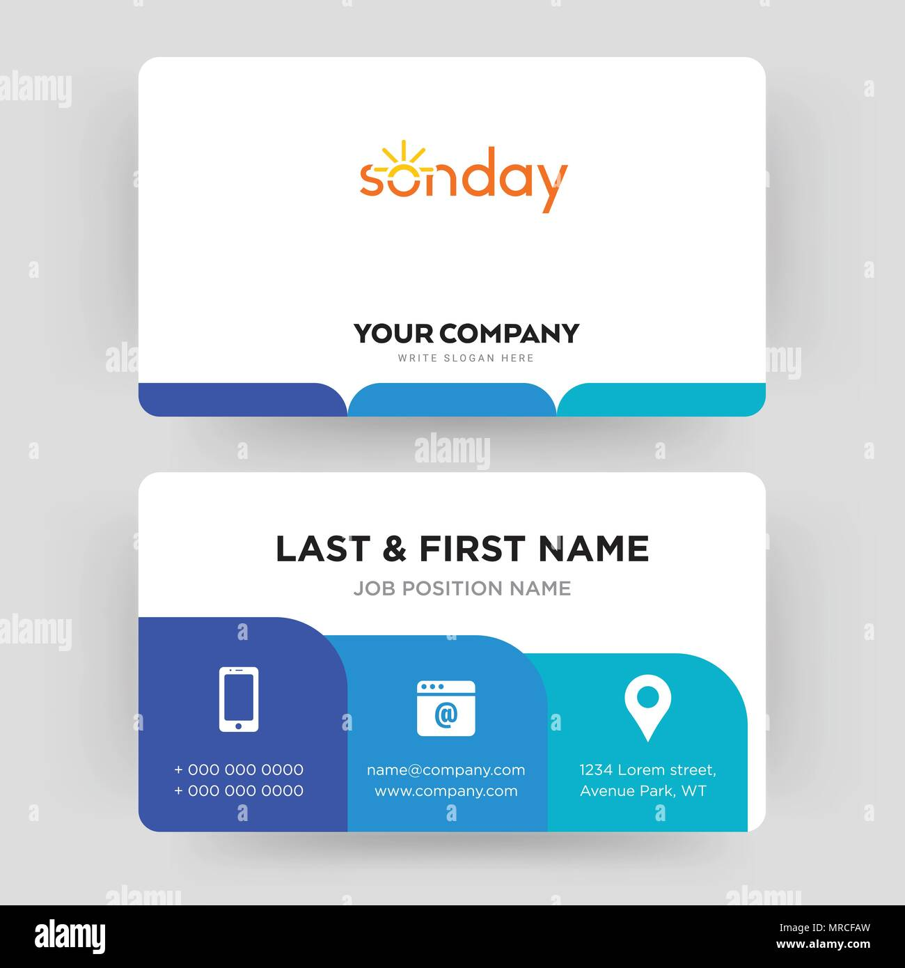 Sunday business card design template visiting for your company sunday business card design template visiting for your company modern creative and clean identity card vector colourmoves