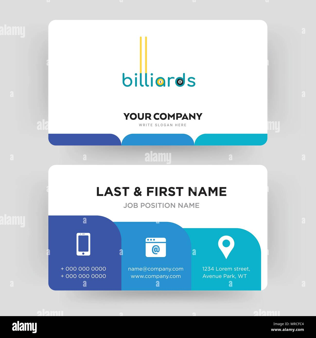billiards, business card design template, Visiting for your company, Modern Creative and Clean identity Card Vector - Stock Image