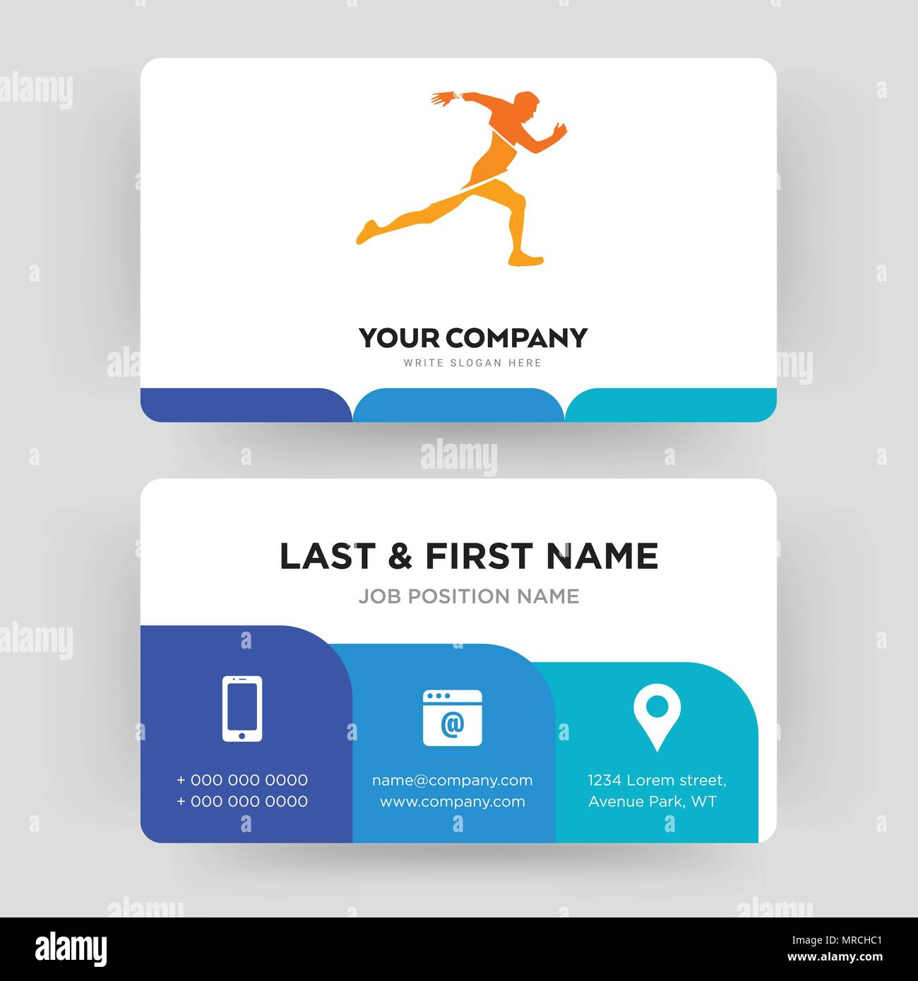 running club business card design template visiting for your