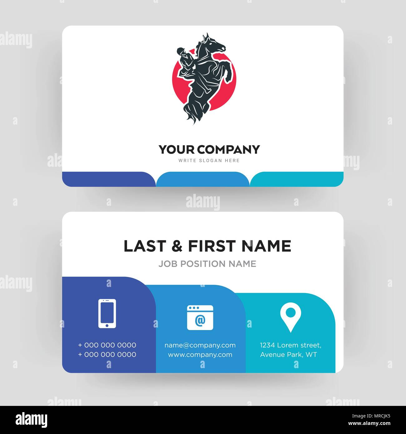 Show jumping horse stock vector images alamy equestrian business card design template visiting for your company modern creative and clean reheart Gallery
