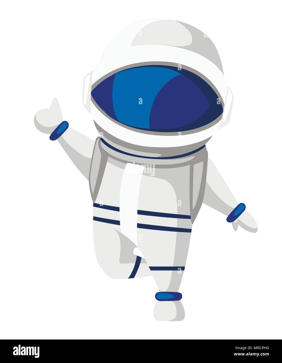 Illustration of astronaut. Cartoon character design. Cute astronaut giving a thumbs up. Vector illustration isolated on white background. - Stock Vector