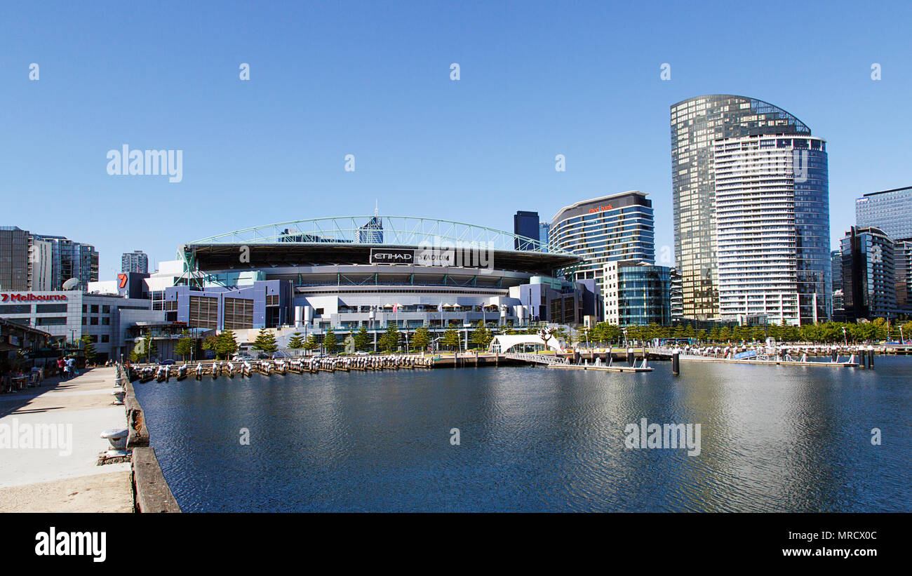 Melbourne, Australia: April 07, 2018: Melbourne City Marina is overlooked by Etihad Stadium on Harbour Esplanade. - Stock Image