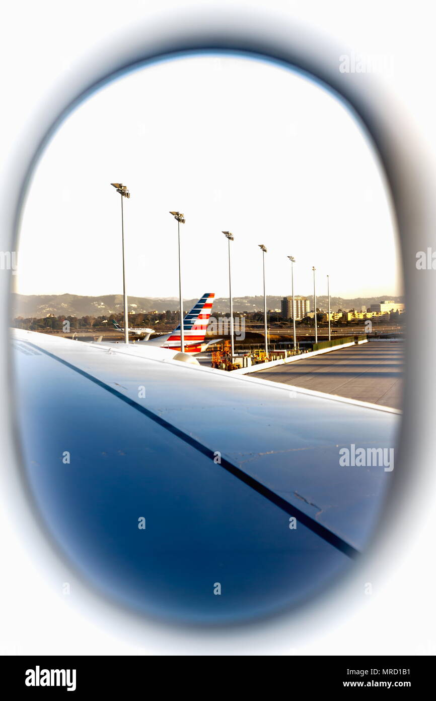 View from an airplane window at Los Angeles International Airport - Stock Image