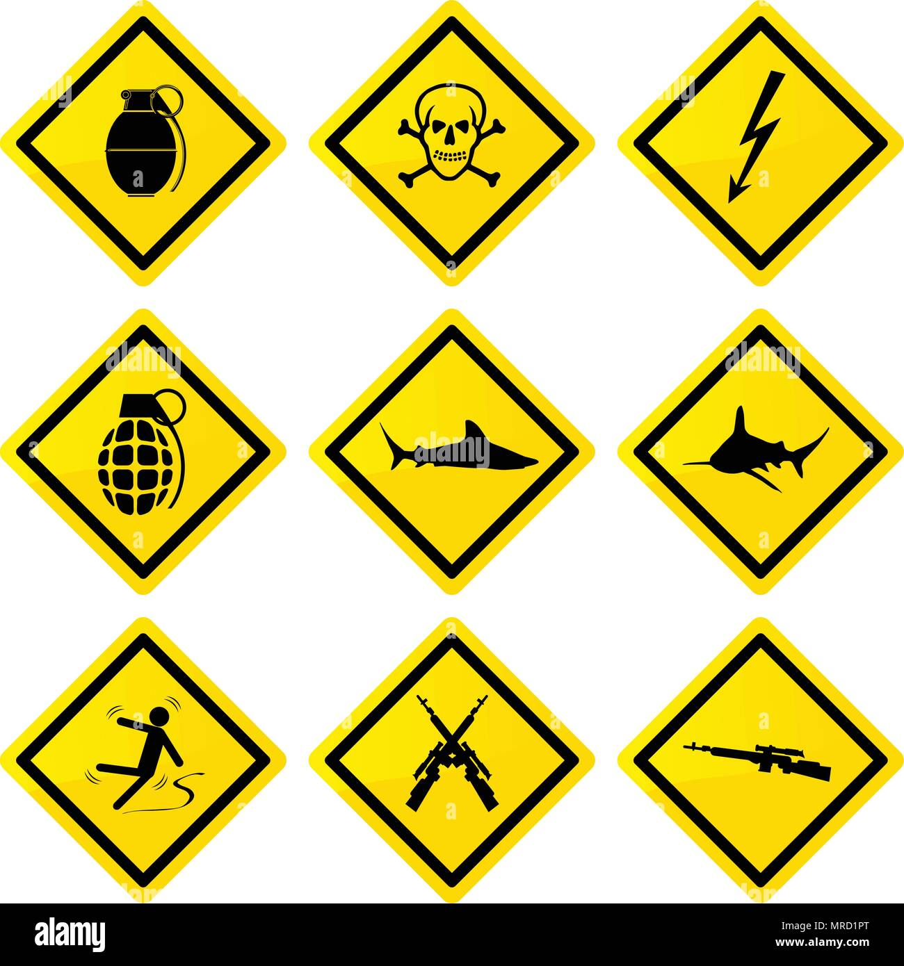 collection of yellow rectangle danger signs vector illustration - Stock Vector