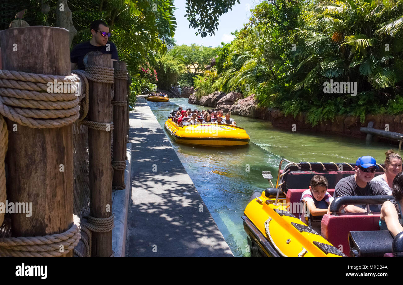 Orlando, Florida, USA - May 09, 2018: Jurassic Park River Adventure in the Jurassic Park area of Universals Island of Adventure - Stock Image