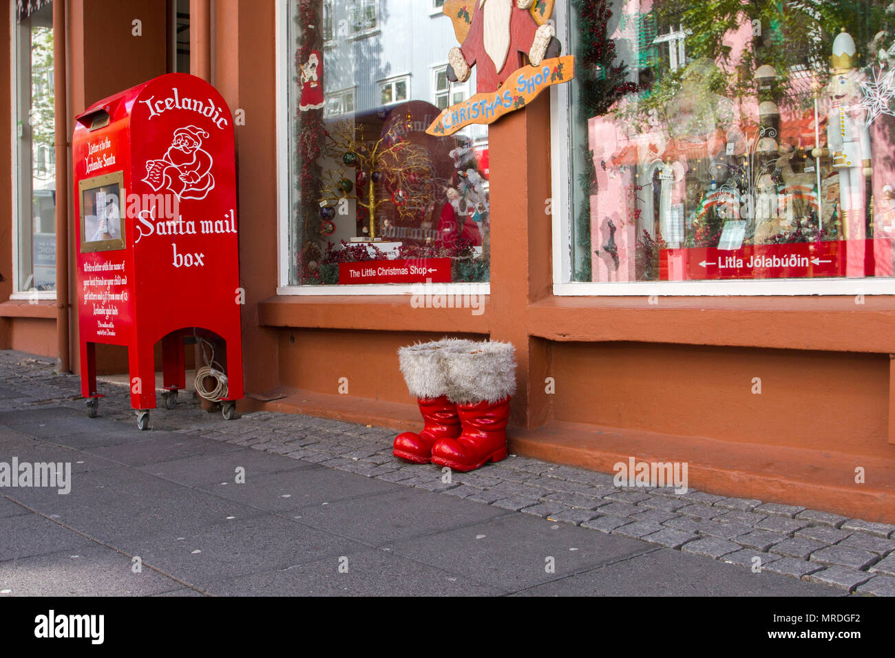 Santa Mail Box, and red gum boots outside Christmas Gift Shop. Shops ...