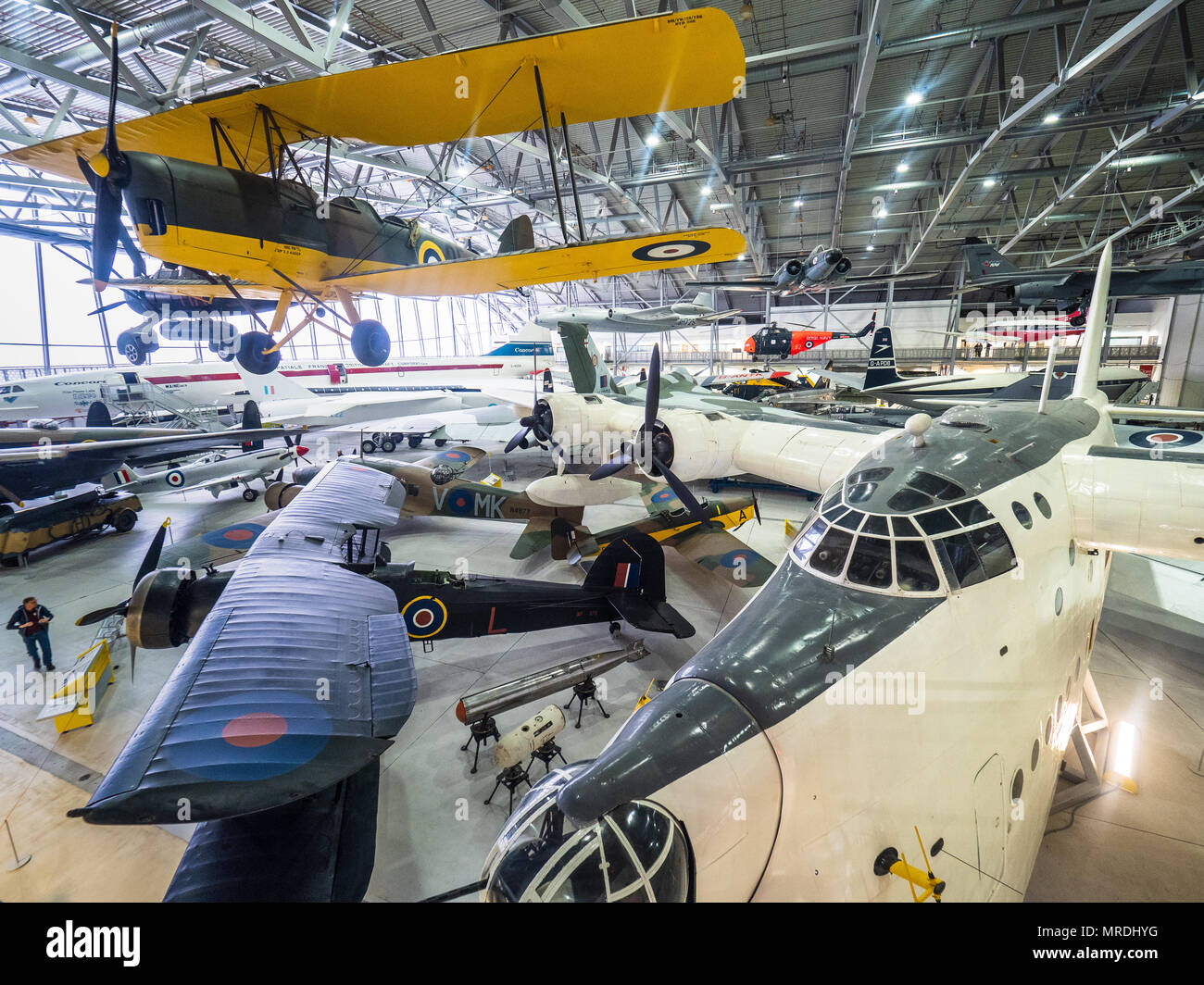 Duxford IWM - Imperial War Museum Duxford - the largest aviation museum in the UK - photo inside the Airspace Hanger which opened in 2008 - Stock Image