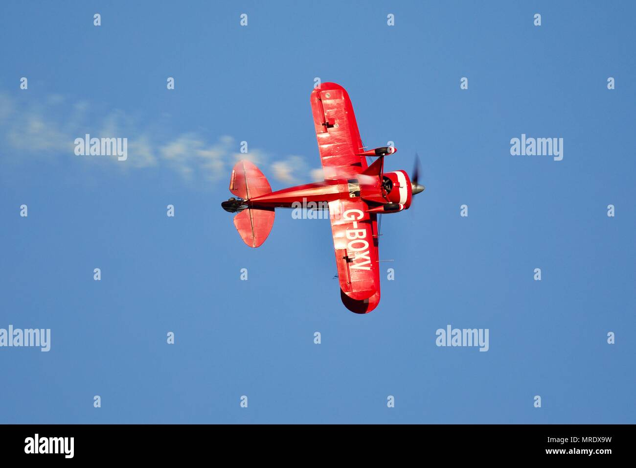 Pitts Special aerobatic biplane performing a fast and exciting aerial display at Old Warden Aerodrome on the 19 May 2018 - Stock Image