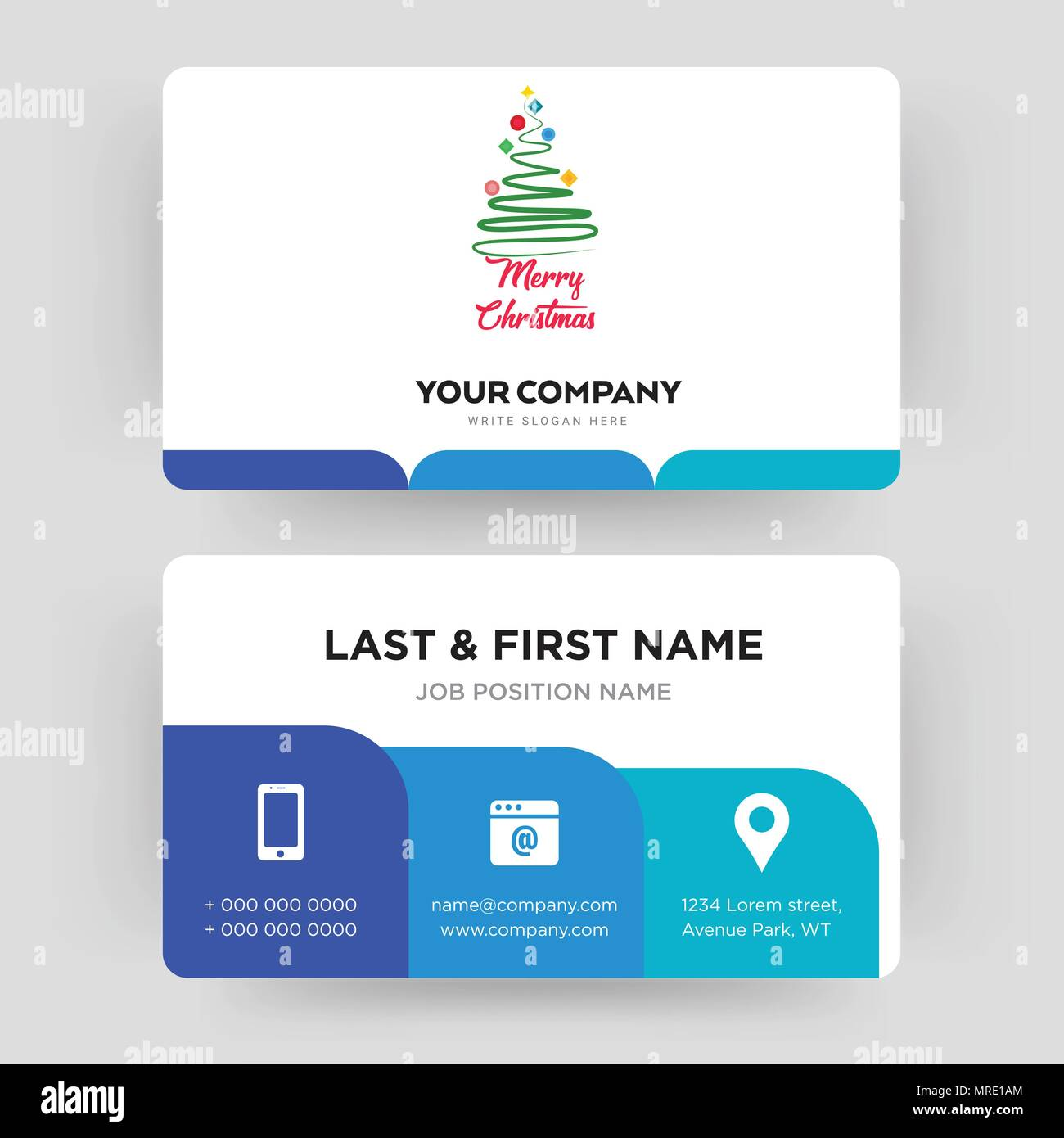 Merry Christmas Business Card Design Template Visiting For Your Company Modern Creative And Clean Identity Vector