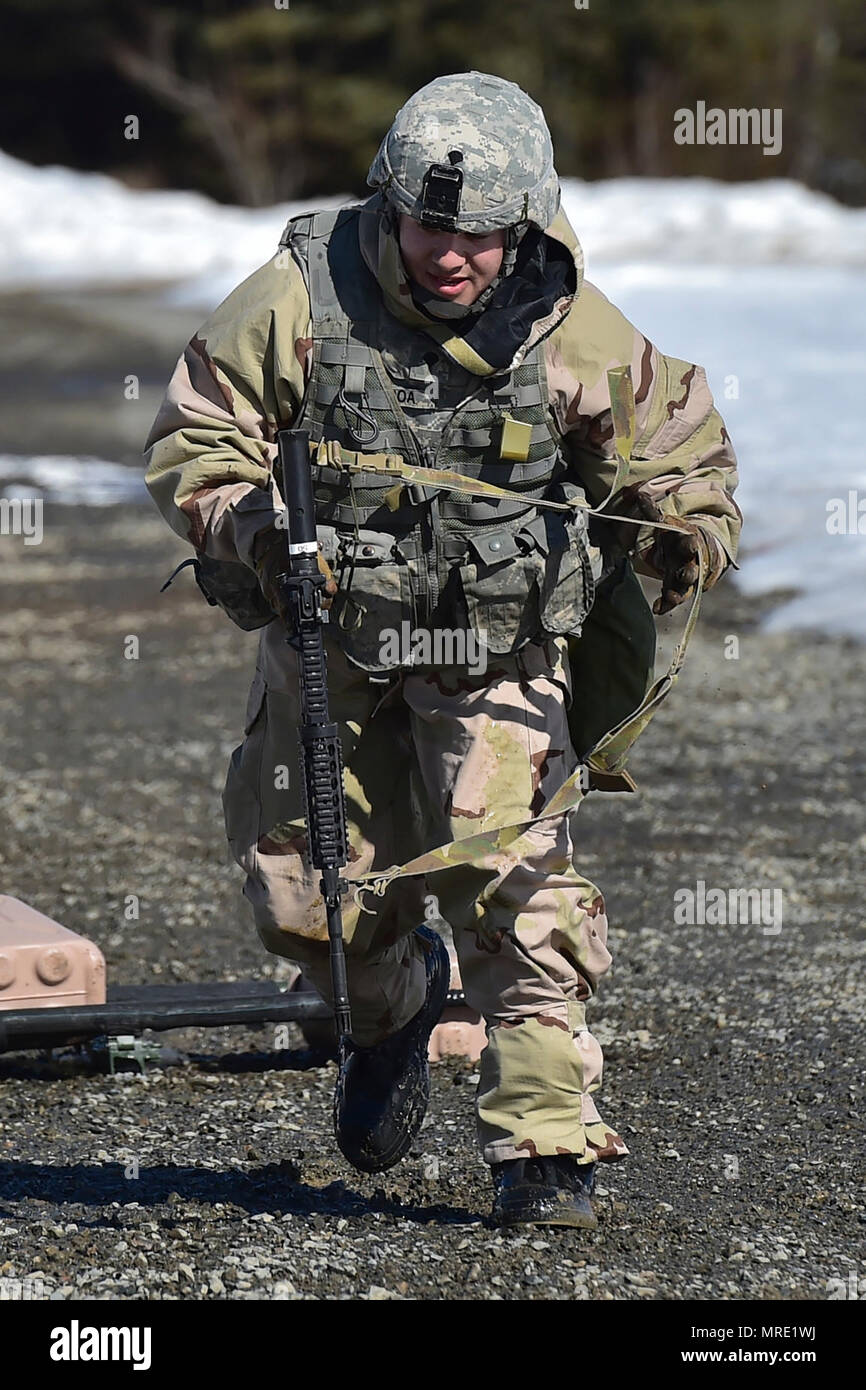 A Soldier Assigned To The 95th Chemical Company Arctic Dragons