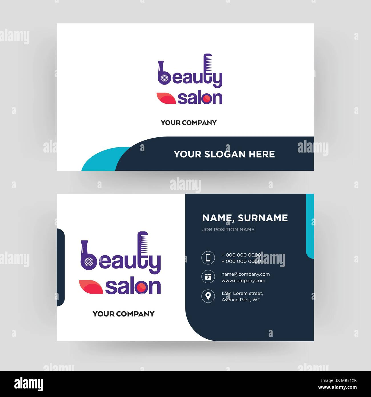 beauty salon, business card design template, Visiting for your ...