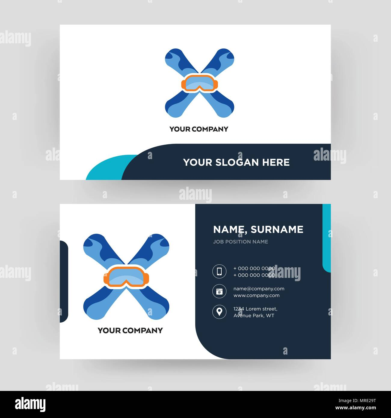 Snowboard Business Card Design Template Visiting For Your Company