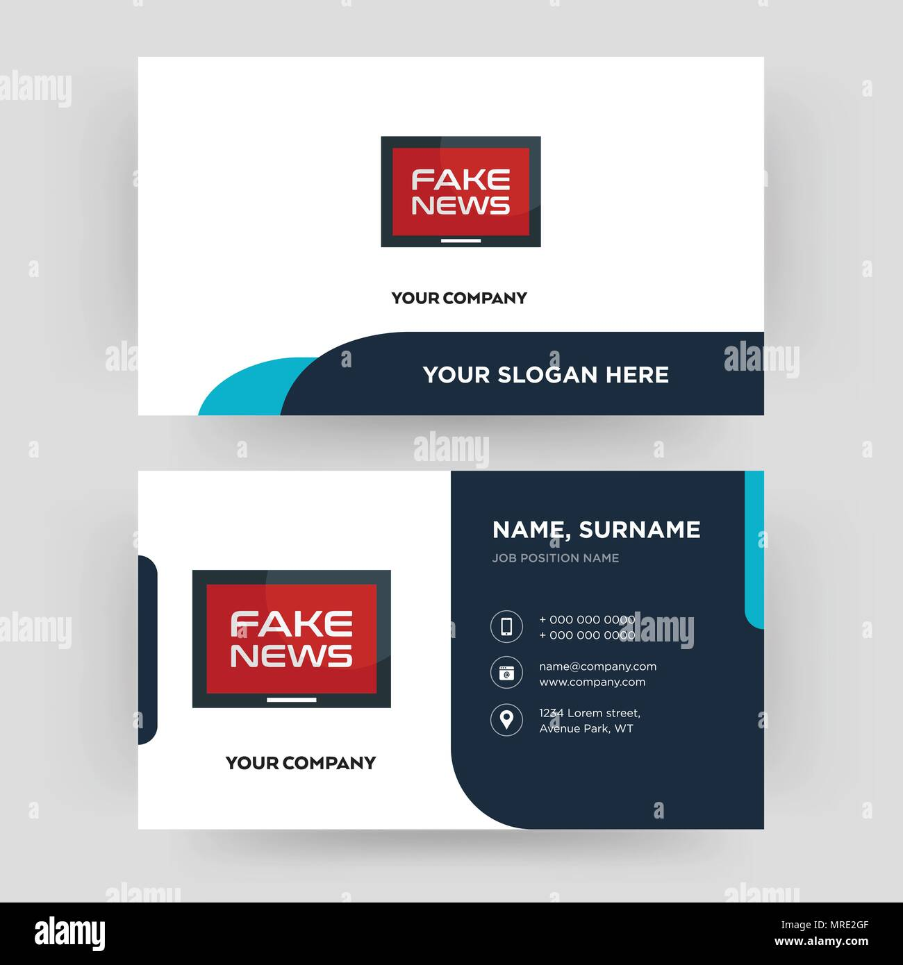 fake news business card design template visiting for your company modern creative and clean identity card vector - Fake Business Cards