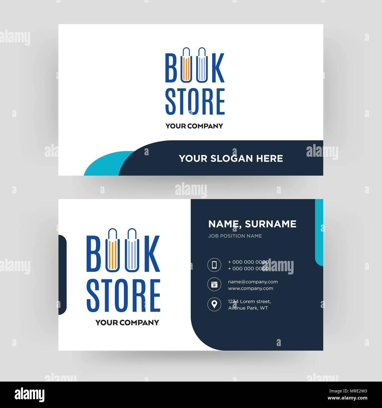 book store, business card design template, Visiting for your company, Modern Creative and Clean identity Card Vector Stock Vector
