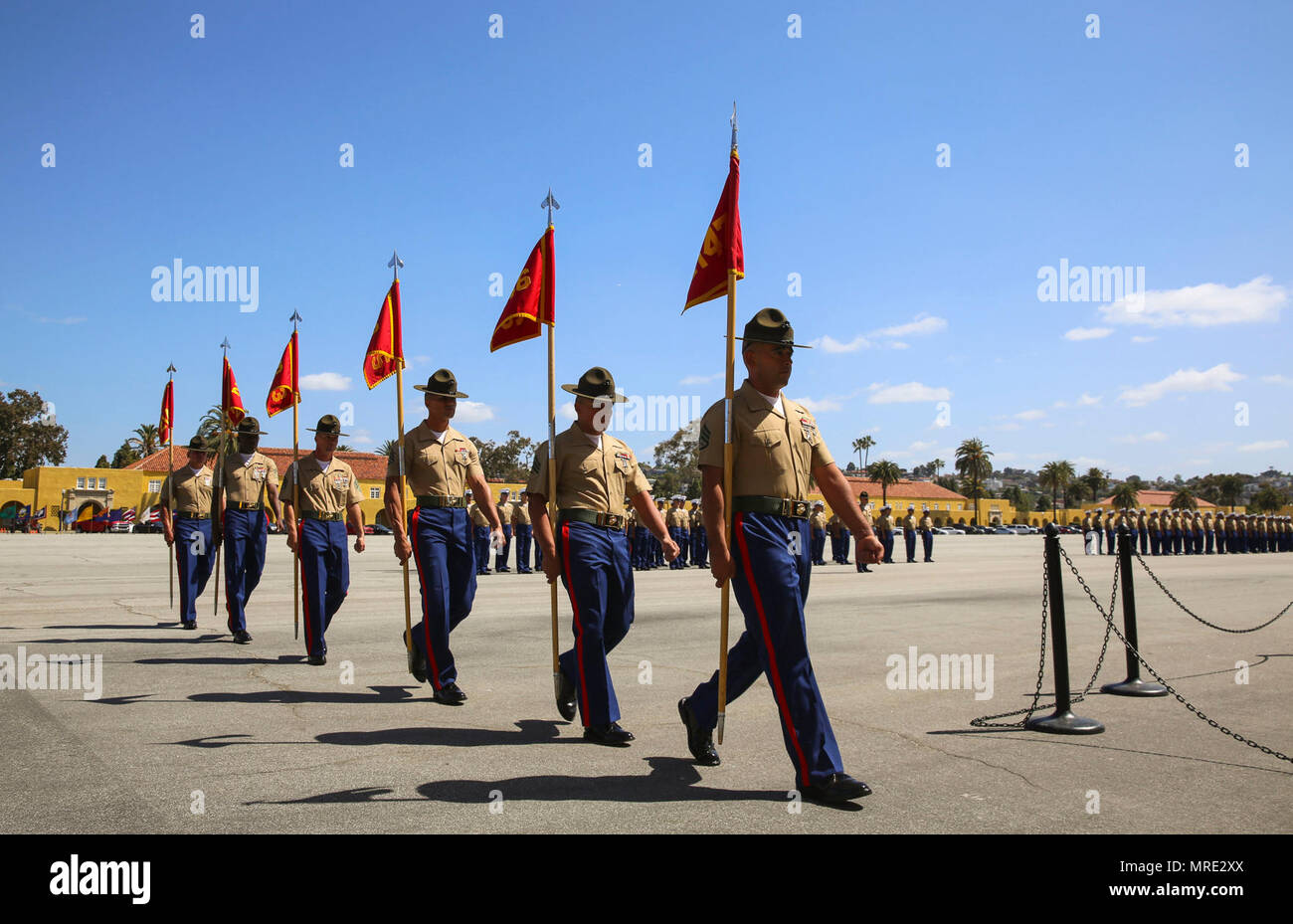Marines From Golf Company 2nd Recruit Training Battalion March As A Company For The Last Time