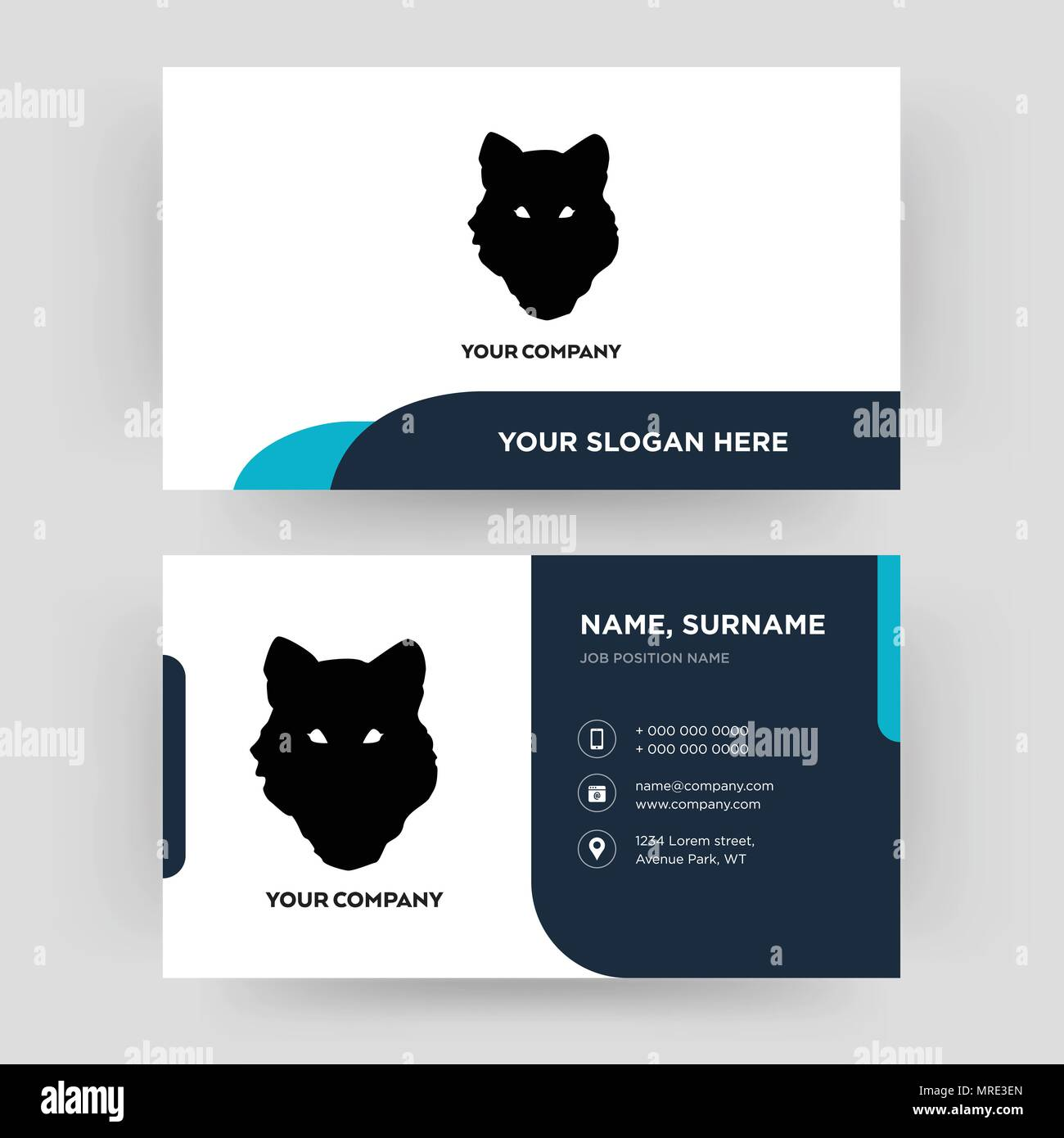 wolf face business card design template visiting for your company