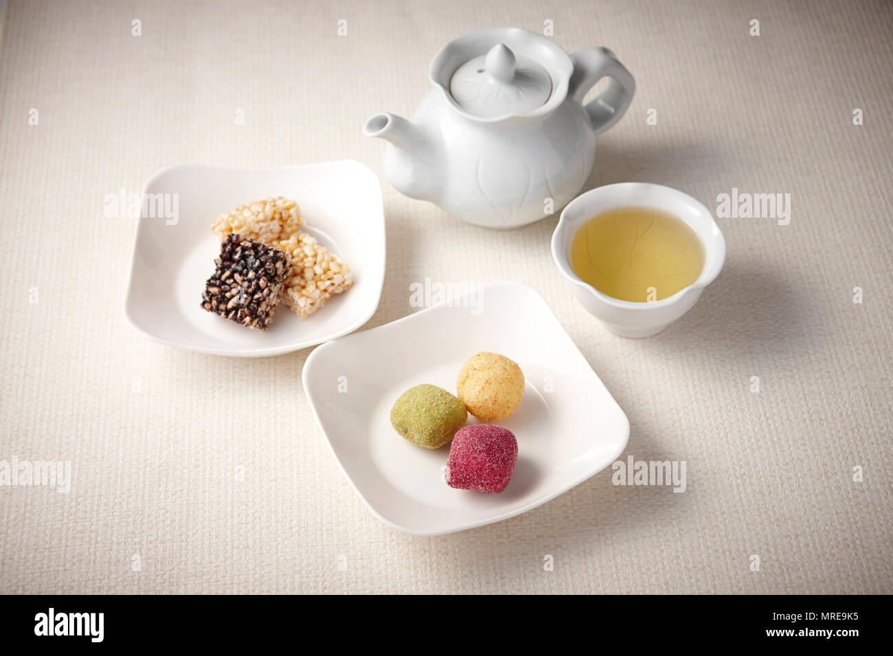 Korean traditional dessert, yakgwa and hangwa, sweet dessert - Stock Image
