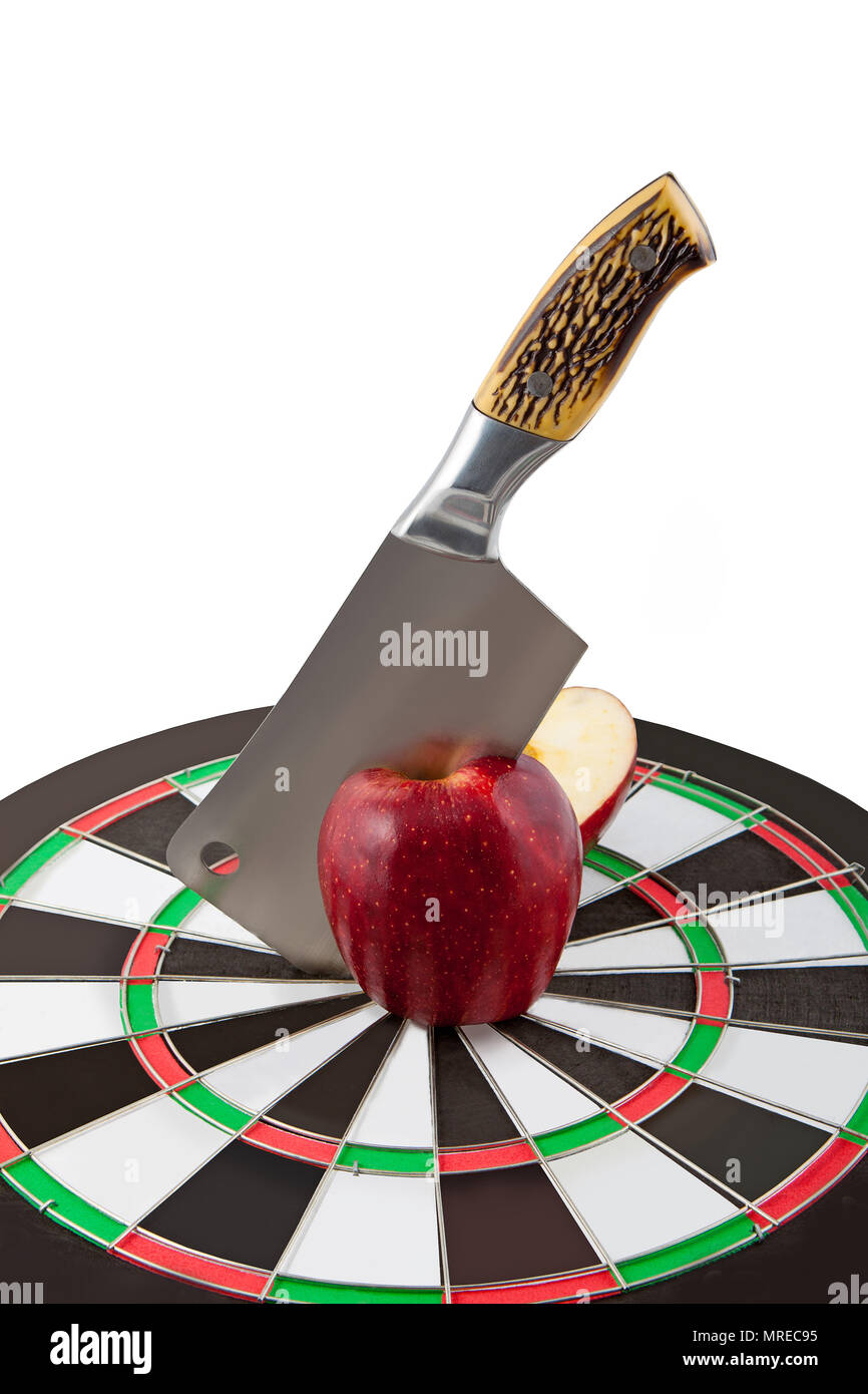 knife cuts red apple in the centre of target - Stock Image