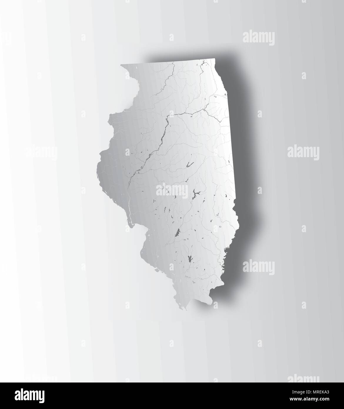 U.S. states - map of Illinois state with paper cut effect. Hand made. Rivers and lakes are shown. Please look at my other images of cartographic serie - Stock Vector