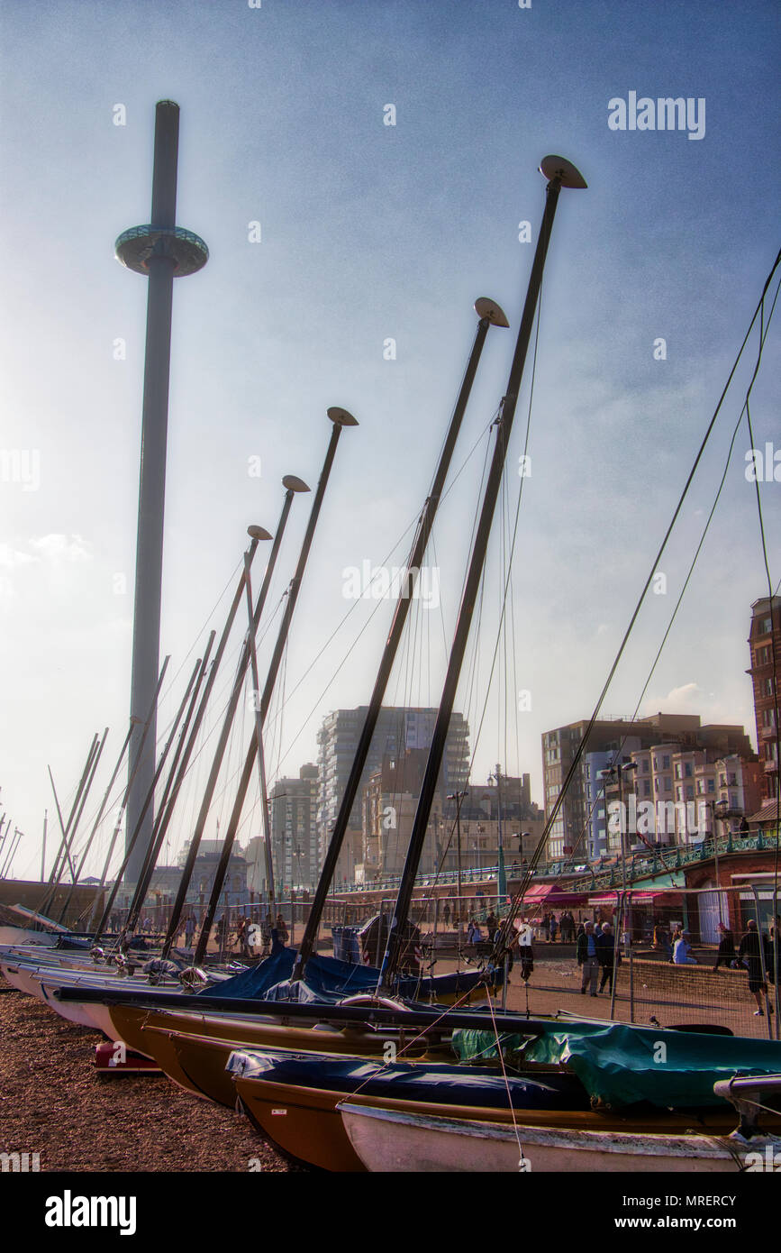 Sailing Boats And The i360 Brighton beach Sussex - Stock Image