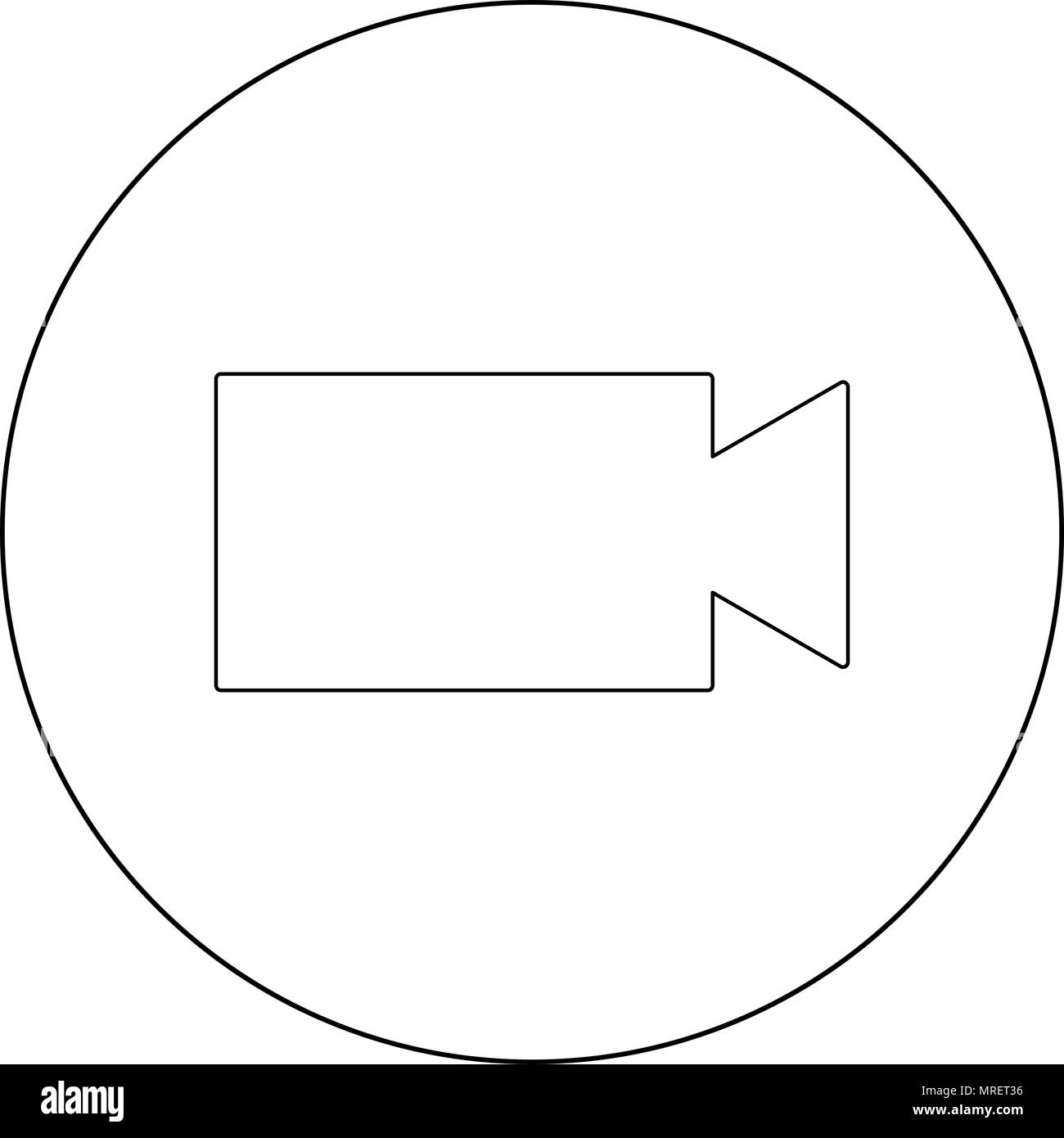 Video camera  icon black color in circle or round vector illustration - Stock Image