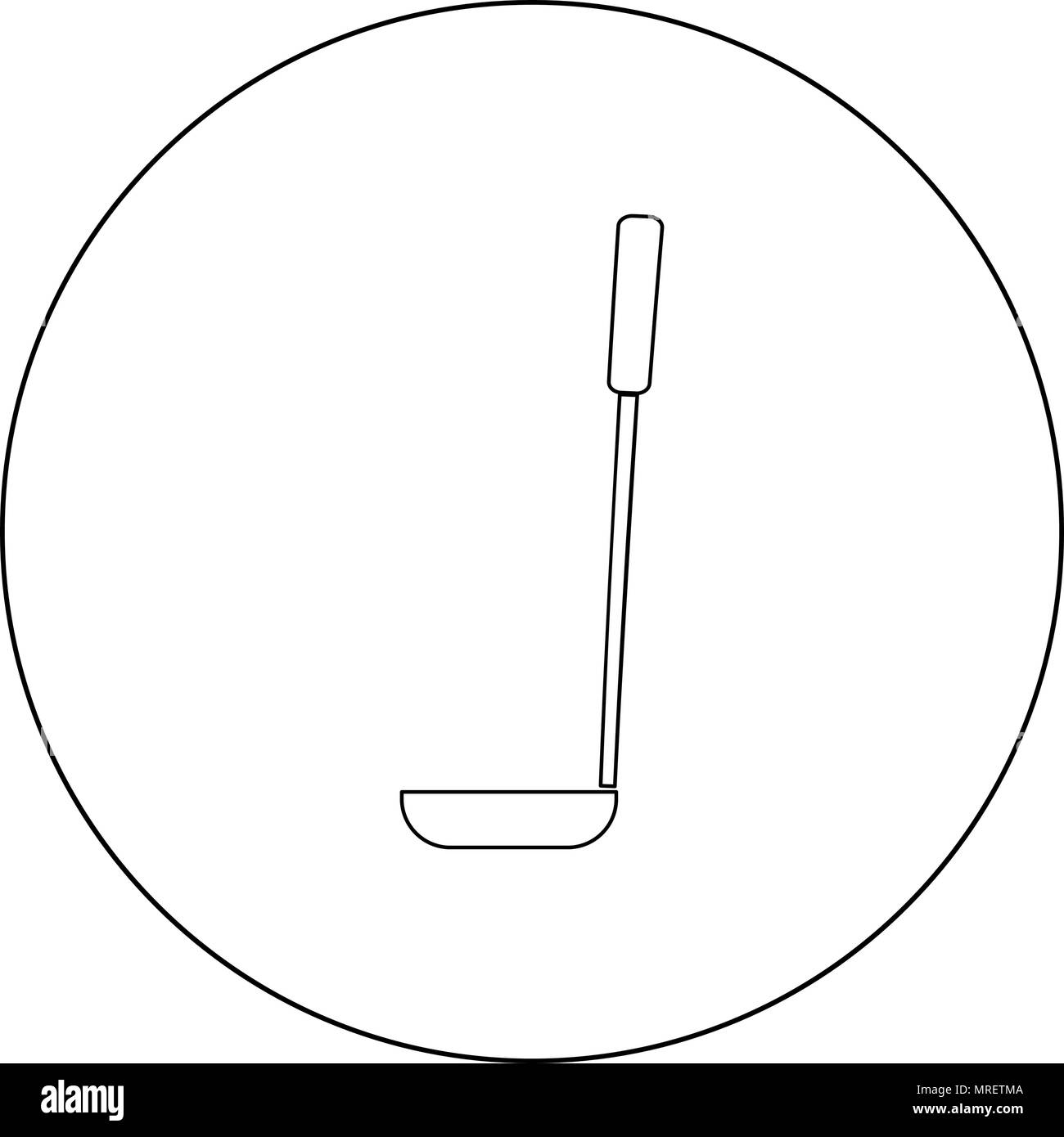 Soup ladle  icon black color in circle or round vector illustration - Stock Image